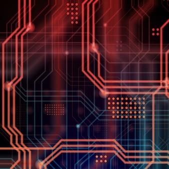 Fundo de linhas de circuito preto e vermelho