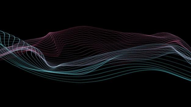 Fundo de linhas. linha abstrata. padrão listrado, elemento de néon de curva. cenário dinâmico. capa da apresentação. isolado no preto. cor rosa e azul.
