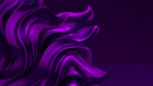 Fundo de luxo com tecido roxo do drapery. renderização em 3d.