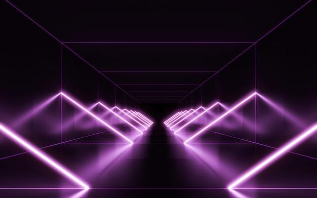 Fundo de luzes de néon. renderização em 3d