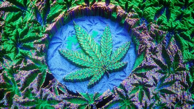 Fundo de maconha. folha de cannabis em estilo de arte digital. erva, ilustração 3d. design de banner, cartaz ou folheto de maconha.