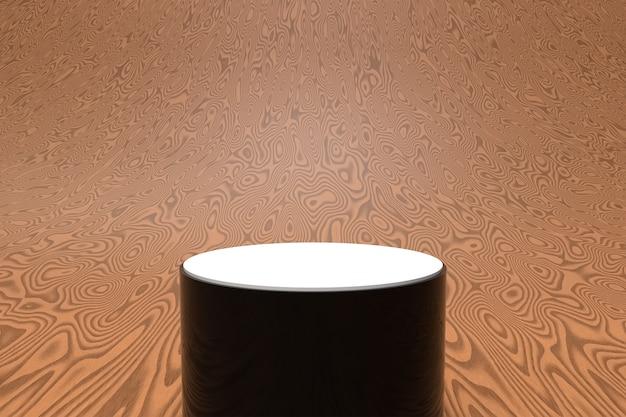 Fundo de madeira abstrato com pódio de forma geométrica para o produto. renderização 3d foto premium
