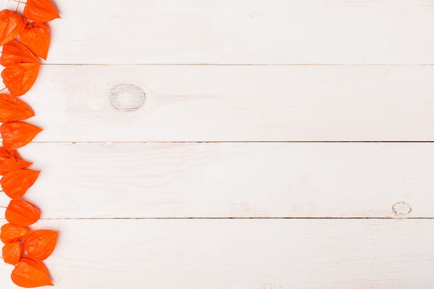 Fundo de madeira branco para espaço de cópia. camada plana, vista superior. cereja de inverno laranja na borda da imagem