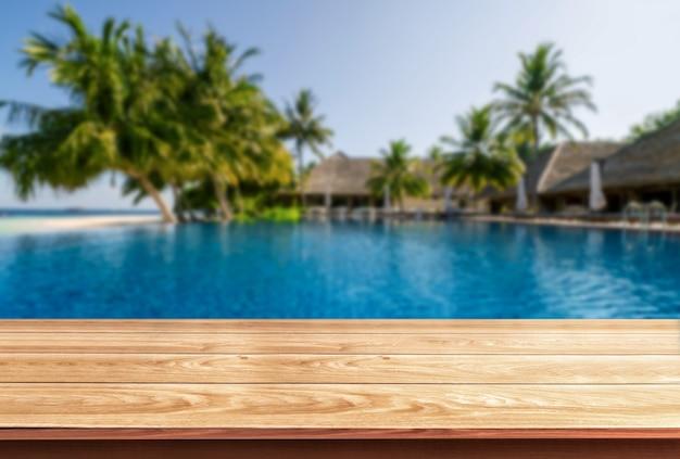 Fundo de madeira da tabela em férias do feriado da estância de verão.