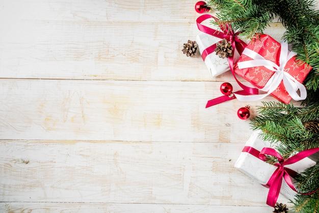 Fundo de madeira de decoração de natal