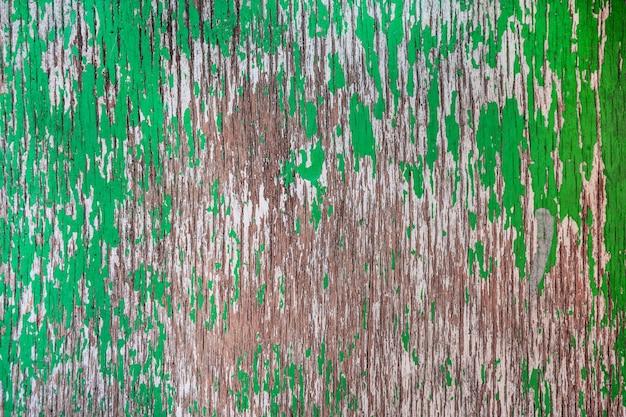 Fundo de madeira gasto de madeira pintado com tinta verde