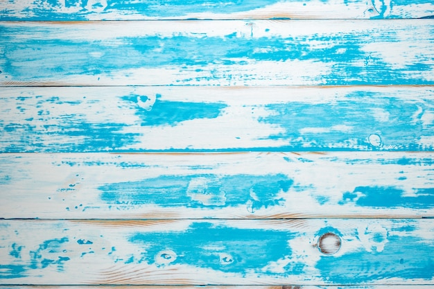 Fundo de madeira texturizado de verão azul.