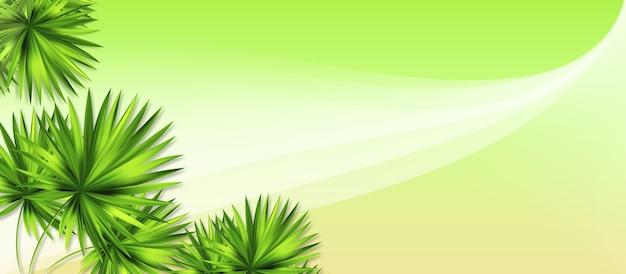 Fundo de malha de gradiente colorido verde com árvores de palma