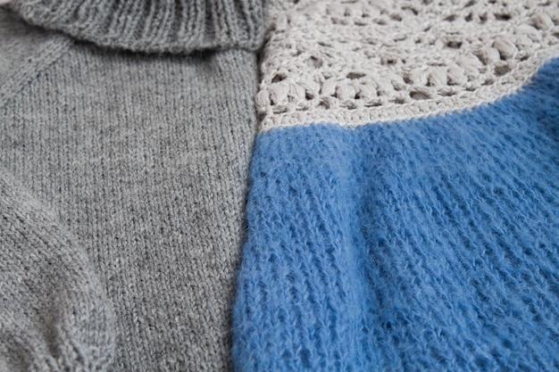 Fundo de malha, produtos de malha e crochê, hobbies, tricô