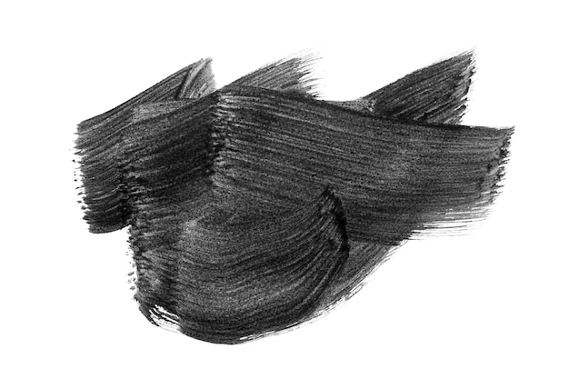 Fundo de mancha aquarela aquarel abstrato preto isolado no branco. traçados de pincel aquarela acrílico preto.
