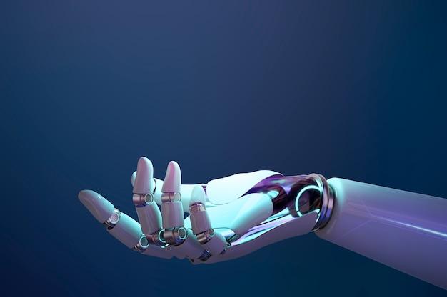 Fundo de mão do robô, apresentando gesto de tecnologia