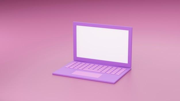 Fundo de maquete de laptop em estilo moderno mínimo. ilustração 3d do caderno na cor rosa. conceito de gadget de tecnologia