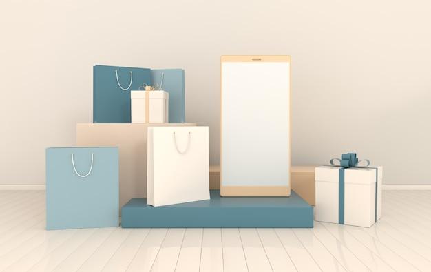 Fundo de maquete de sacola de compras de caixa de presente para smartphone em estilo minimalista