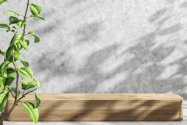 Fundo de maquete minimalista para apresentação do produto, guarda-sol e sombra na plataforma de madeira e parede de cimento, planta em primeiro plano. renderização 3d