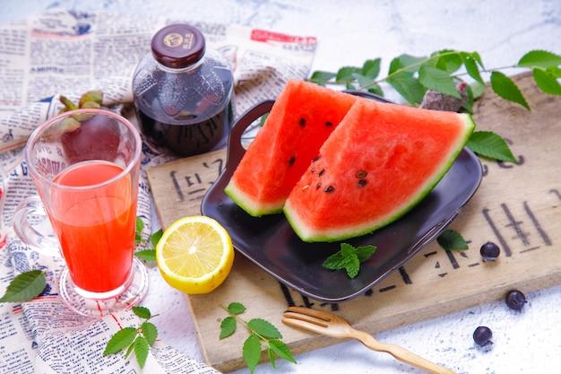 Fundo de melancia suco fresco
