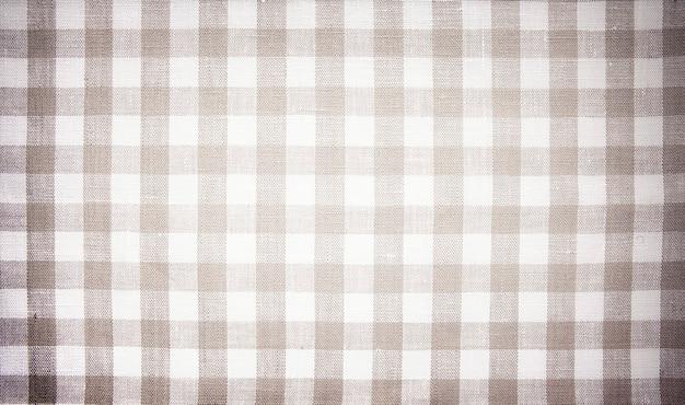 Fundo de menu bege abstrato, tecido xadrez, algodão, toalha de mesa, textura de tecido, restaurante