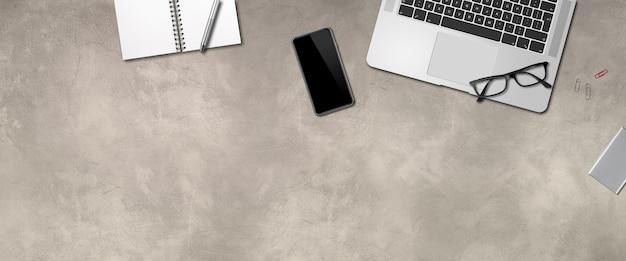 Fundo de mesa de concreto para escritório moderno