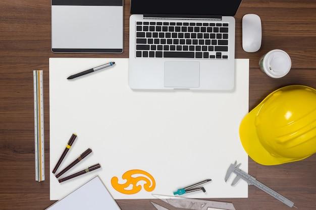 Fundo de mesa de escritório com conceito de idéias de projeto de construção