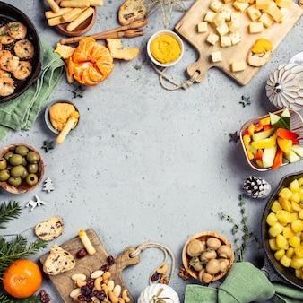 Fundo de mesa de festa de jantar de natal