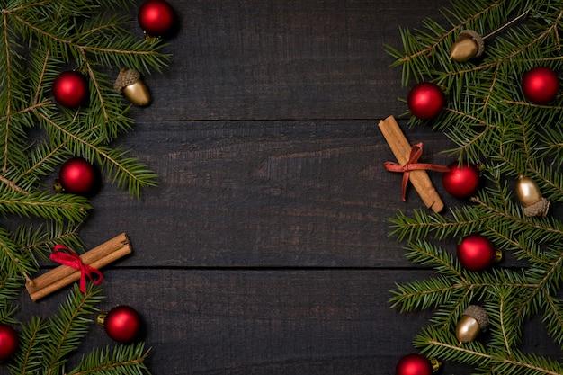Fundo de mesa de madeira rústica com decoração de natal