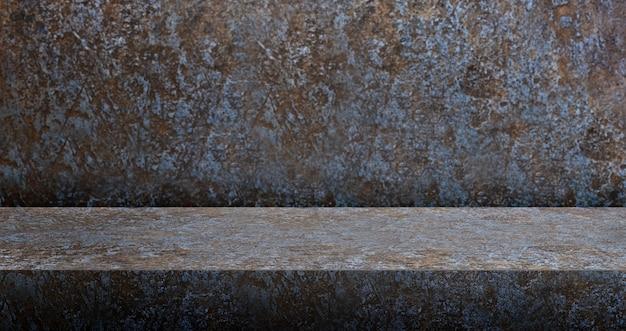 Fundo de mesa de metal enferrujado 3d texturizado para exposição do produto