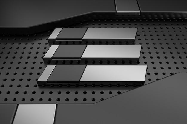 Fundo de metal com formas 3d