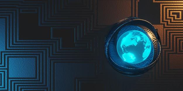Fundo de metal de ficção científica com textura abstrata iluminada em azul e laranja. modelo holográfico da terra. renderização em 3d.