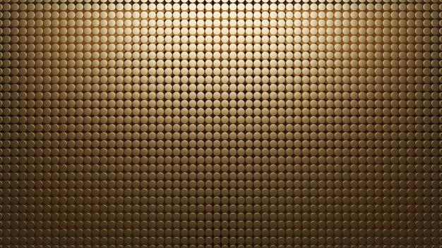 Fundo de metal dourado de pequenos círculos. padrão de malha 3d abstrato render. carbono materal. textura