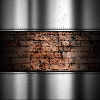 Fundo de metal escovado com tijolo
