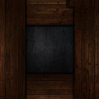 Fundo de metal grunge com borda de madeira velha