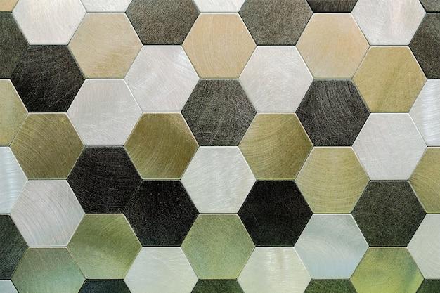 Fundo de metal prateado abstrato. hexágonos geométricos.