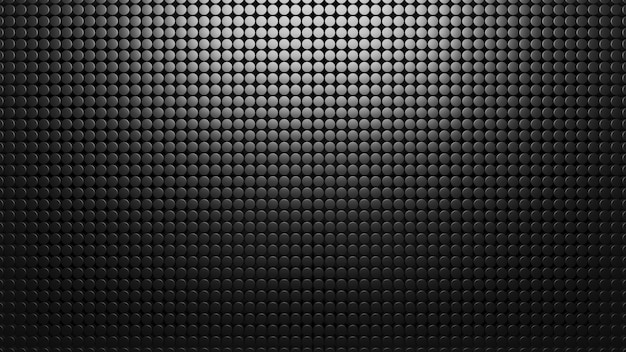 Fundo de metal preto de pequenos círculos. padrão de malha 3d abstrato render. carbono materal. textura