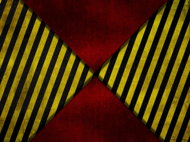 Fundo de metal vermelho estilo grunge com listras de aviso amarelas e pretas