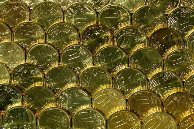 Fundo de moedas verdes e ouro