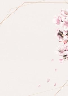 Fundo de moldura floral rosa em branco