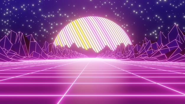 Fundo de montanha retrô dos anos 80 para publicidade na cena da arte retro e sci fi pop dos anos 80