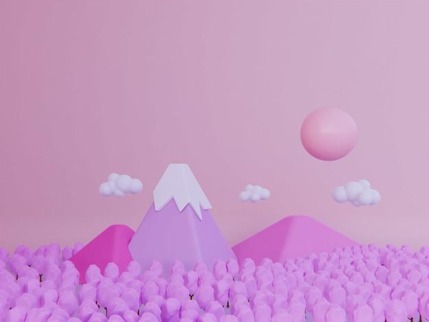 Fundo de montanha rosa de flor de cerejeira