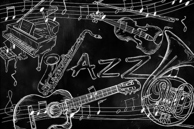 Fundo de música de instrumentos de jazz no quadro-negro escuro