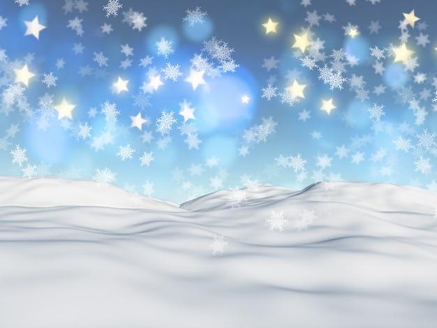 Fundo de natal 3d com flocos de neve e estrelas
