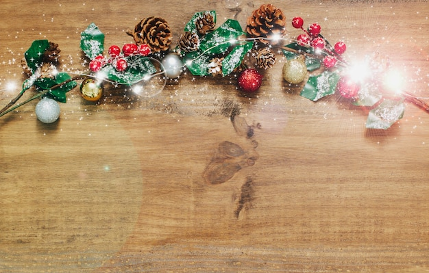 Fundo de natal com árvore de abeto e decoração