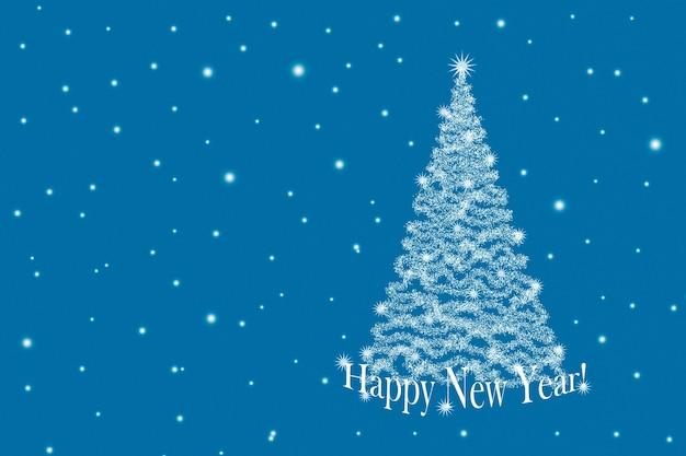 Fundo de natal com árvore de natal e flocos de neve em um fundo azul