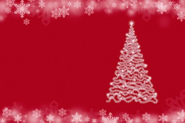 Fundo de natal com árvore de natal e flocos de neve em um fundo vermelho