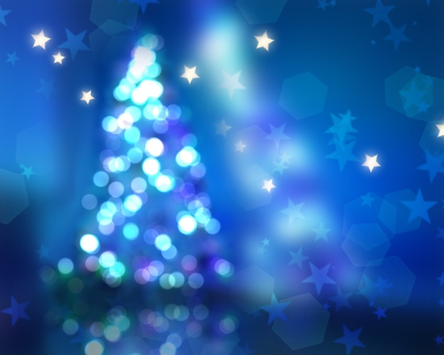 Fundo de natal com árvore desfocada e luzes de bokeh