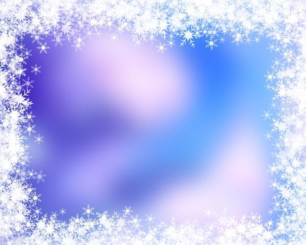 Fundo de natal com borda de floco de neve