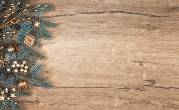Fundo de natal com borda de galho de árvore do abeto decorado na madeira.