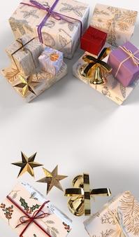 Fundo de natal com caixas de presente e estrelas douradas