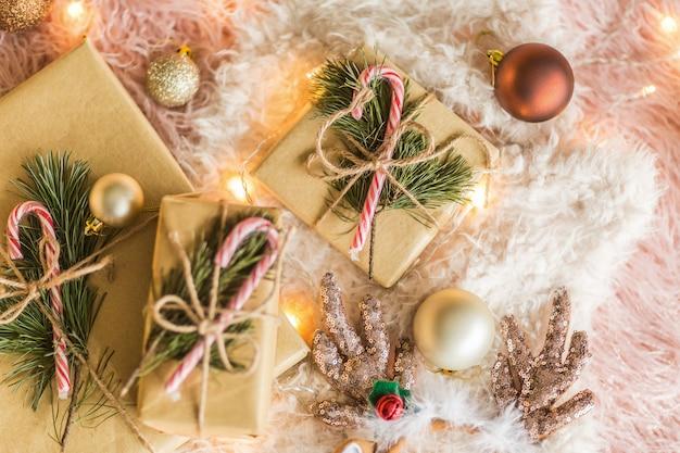 Fundo de natal com caixas de presente
