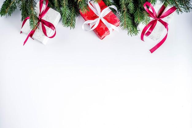 Fundo de natal com caixas de presentes