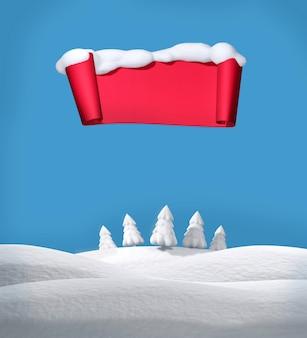 Fundo de natal com campos cobertos de neve, pinheiros brancos e um pergaminho vermelho. modelo de cartão de felicitações. ilustração 3d. render