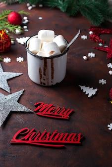 Fundo de natal com chocolate quente caseiro,